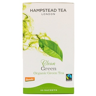 Hampstead Tea, Clean Green, Organic Green Tea, 20 Sachets, 1.41 oz (40 g)