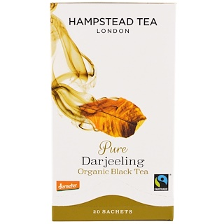 Hampstead Tea, Pure Darjeeling, Organic Black Tea, 20 Sachets, 1.41 oz (40 g)