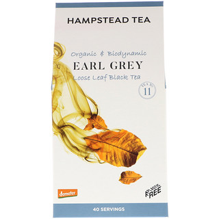 Hampstead Tea, Organic & Biodynamic, Loose Leaf Black Tea, Earl Grey, 3.53 oz (100 g)