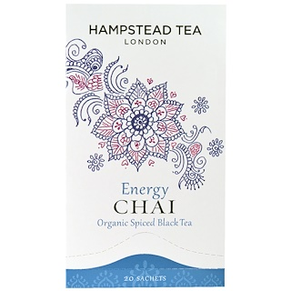 Hampstead Tea, Organic Spiced Black Tea, Energy Chai, 20 Sachets, 1.75 oz (50 g)