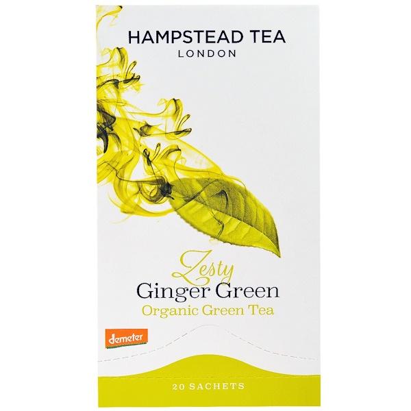 Hampstead Tea, Organic , Zesty Ginger Green Tea, 20 Sachets (Discontinued Item)