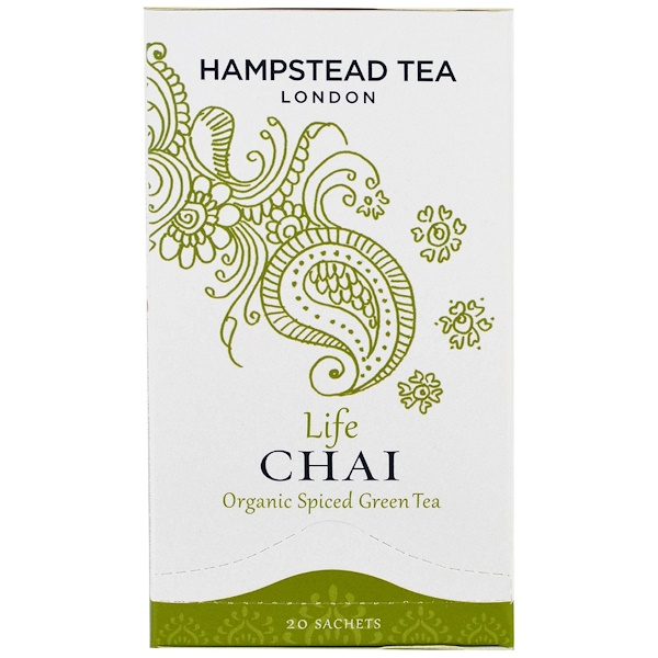 Hampstead Tea, Organic Spiced Green Tea, Life Chai, 20 Sachets (Discontinued Item)