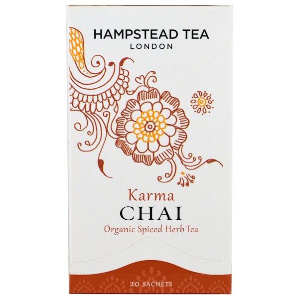 Hampstead Tea, Organic Spiced Herb Tea, Karma Chai, 20 Sachets, 1.41 oz (40 g) (Discontinued Item)