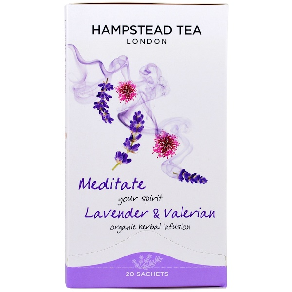 Hampstead Tea, Lavender & Valerian, Organic Herbal Infusion, 20 Sachets, 0.71 oz (20 g) (Discontinued Item)