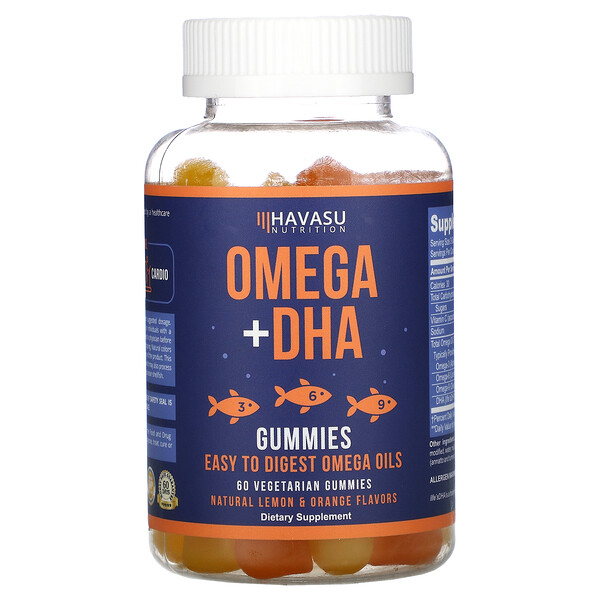 Havasu Nutrition, Omega + DHA Gummies, Natural Lemon & Orange, 60 Vegetarian Gummies