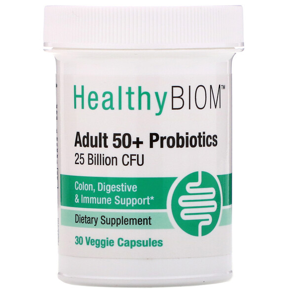 HealthyBiom, Adult 50+ Probiotics, 25 Billion CFUs, 30 Veggie Capsules