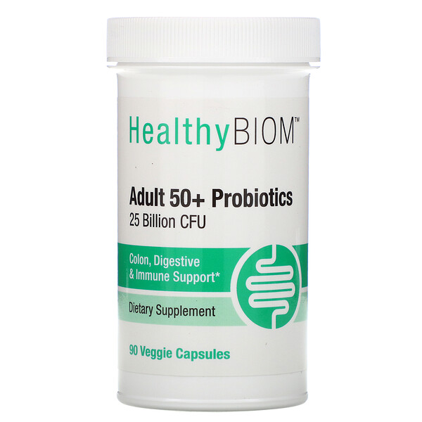 HealthyBiom, Adult 50+ Probiotics, 25 Billion CFU, 90 Veggie Capsules