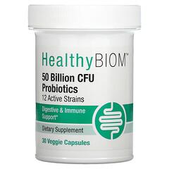 HealthyBiom,  50 Billion CFU Probiotics, 30 Veggie Capsules