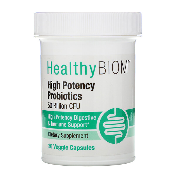 HealthyBiom, High Potency Probiotics, 50 Billion CFUs, 30 Veggie Capsules