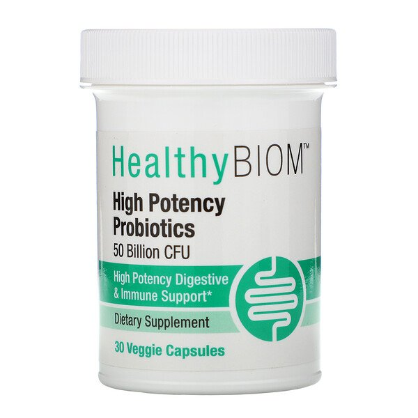 High Potency Probiotics, 50 Billion CFUs, 30 Veggie Capsules