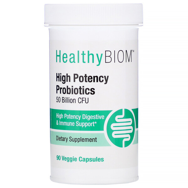 HealthyBiom, High Potency Probiotics, 50 Billion CFUs, 90 Veggie Capsules