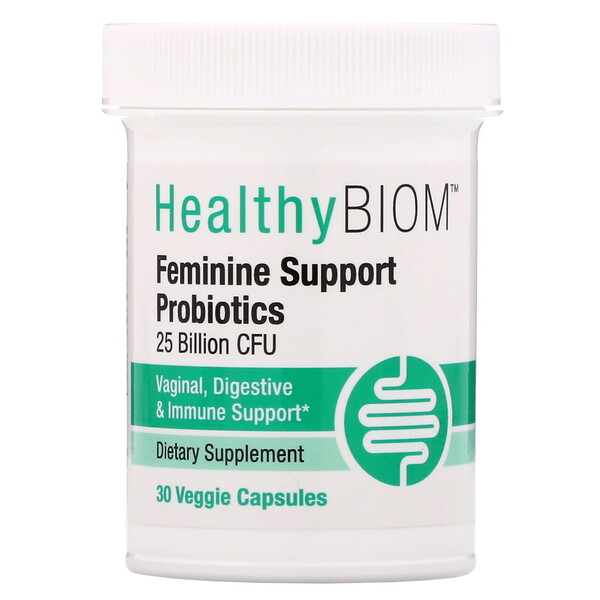 HealthyBiom, Feminine Support Probiotics, 25 Billion CFUs, 30 Veggie Capsules