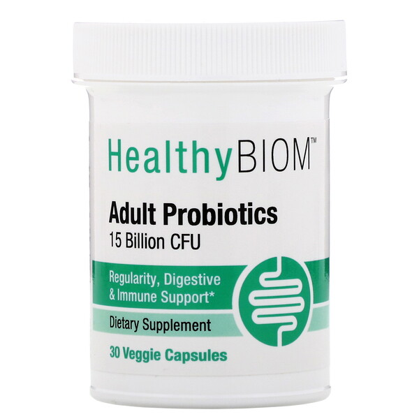 HealthyBiom, Adult Probiotics, 15 Billion CFU, 30 Veggie Capsules