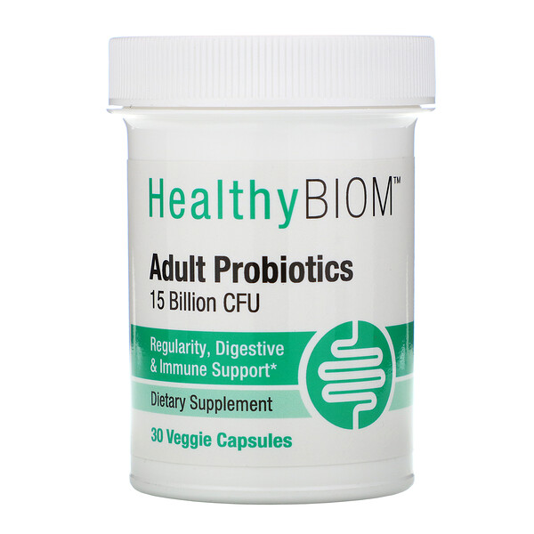 Adult Probiotics, 15 Billion CFU, 30 Veggie Capsules