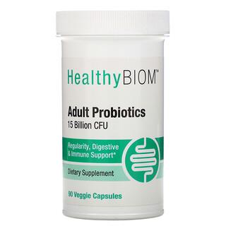 HealthyBiom, Adult Probiotics, 15 Billion CFU, 90 Veggie Capsules
