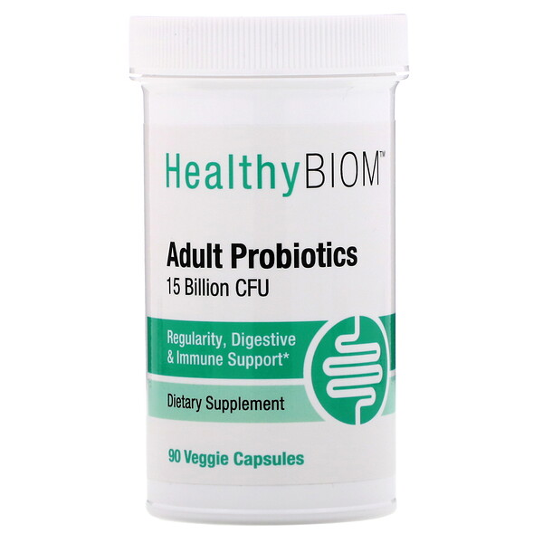 HealthyBiom, Adult Probiotics, 15 Billion CFU, 90 Veggie Capsules