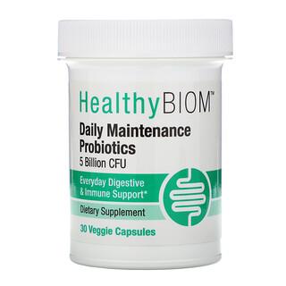 HealthyBiom, Daily Maintenance Probiotics, 5 Billion CFUs, 30 Veggie Capsules