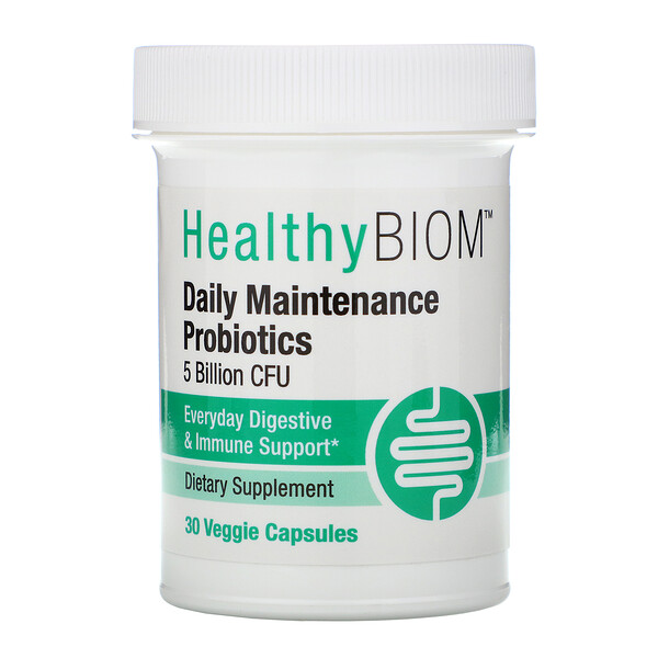 HealthyBiom, Daily Maintenance Probiotics, 5 Billion CFUs, 30 Veggie Capsules