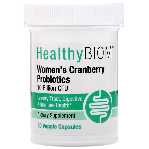 HealthyBiom, Women's Cranberry Probiotic, 10 Billion CFUs, 30 Veggie Capsules