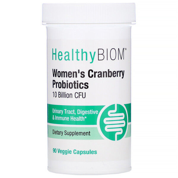 HealthyBiom, Women's Cranberry Probiotics, 10 Billion CFU, 90 Veggie Capsules