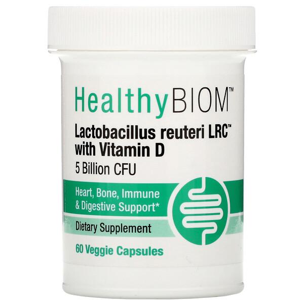 HealthyBiom, Lactobacillus Reuteri LRC with Vitamin D, 5 Billion CFUs, 60 Veggie Capsules