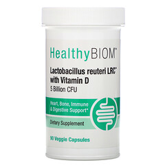 HealthyBiom, Lactobacillus Reuteri LRC with Vitamin D, 5 Billion CFUs, 90 Veggie Capsules