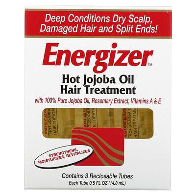 Hobe Labs Energizer, лечение волос горячим маслом жожоба, 3 тюбика с повторно закрывающейся крышкой, 14,8 мл каждый