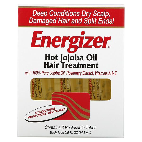 Energizer, Hot Jojoba Oil Hair Treatment, 3 Reclosable Tubes, 0.5 fl oz (14.8 ml) Each