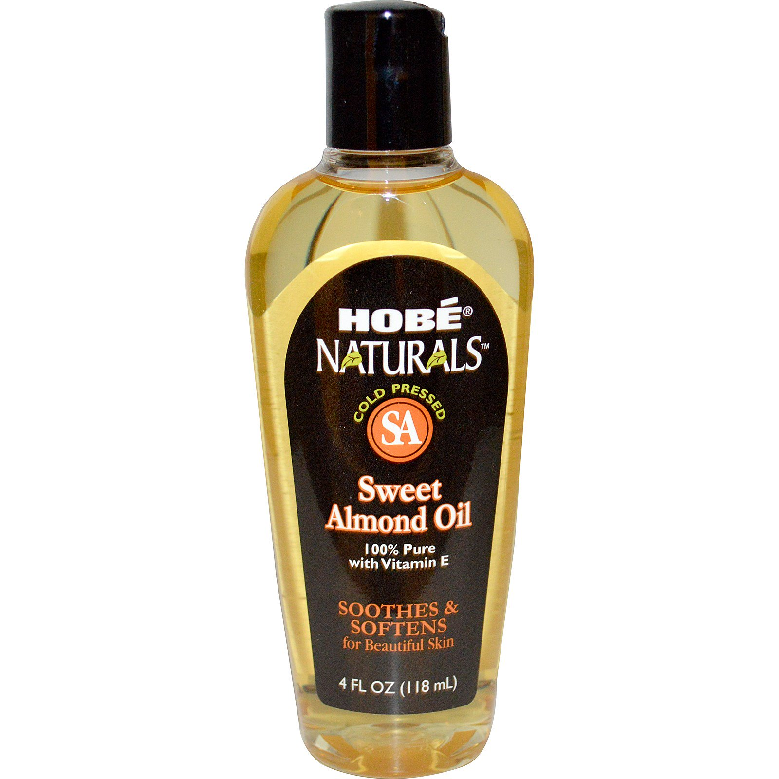 Hobe Labs, Натуральное масло сладкого миндаля, 4 жидких унции (118 мл)