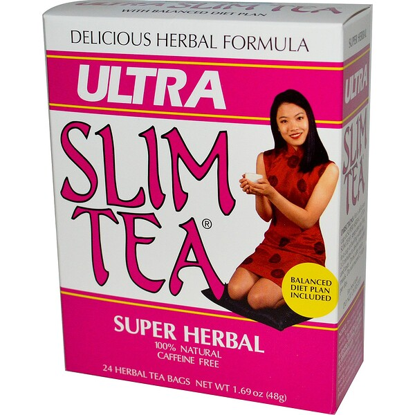 Ultra Slim Tea, Super Herbal, Caffeine Free , 24 Herbal Tea Bags, 1.69 oz (48 g)