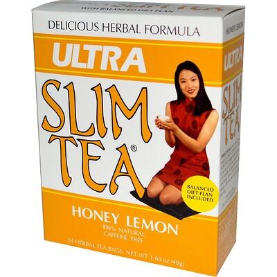 Чай для похудения Ultra Slim, мед с лимоном, 24 пакетика травяного чая, 1,69 унции (48 г)