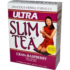 Hobe Labs, Ultra Slim Tea, Cran-Raspberry, Caffeine Free, 24 Herbal Tea Bags, 1.69 oz (48 g)