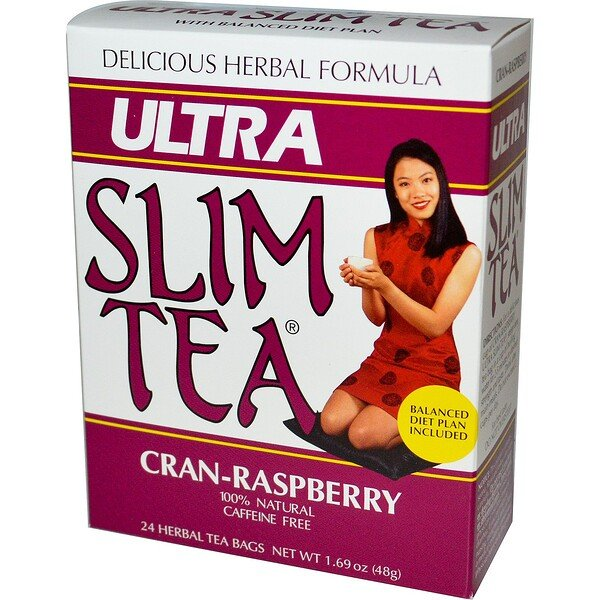 Hobe Labs, Ultra Slim Tea, Cran-Raspberry, Caffeine Free, 24 Herbal Tea Bags, 1.69 oz (48 g)