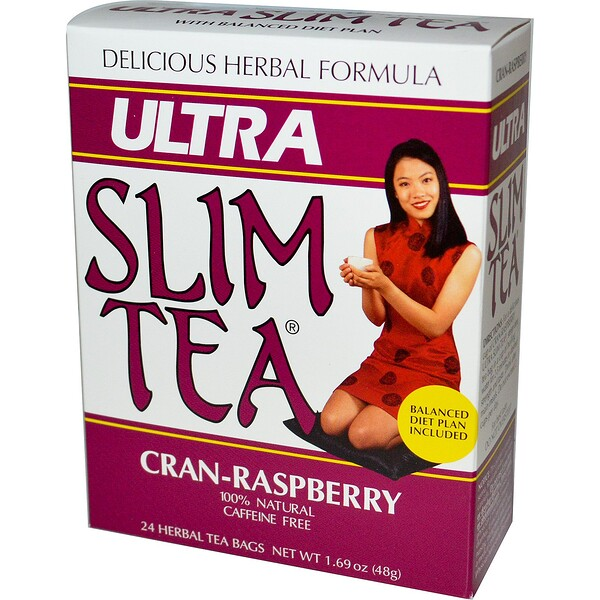 Ultra Slim Tea, Cran-Raspberry, Caffeine Free, 24 Herbal Tea Bags, 1.69 oz (48 g)