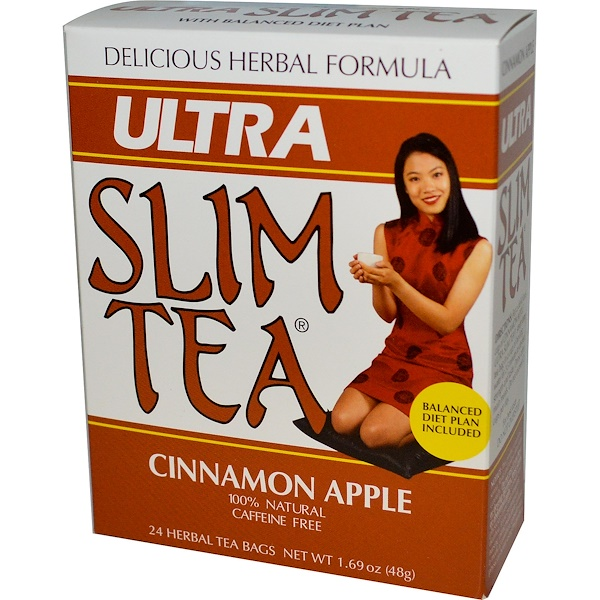 Hobe Labs, Ultra Slim Tea, Cinnamon Apple, Caffeine Free, 24 Herbal Tea Bags, 1.69 oz (48 g) (Discontinued Item)
