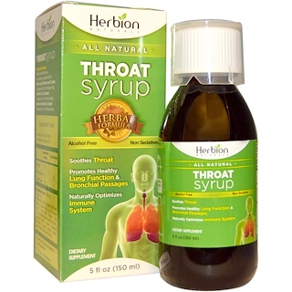 Herbion, Throat Syrup, Alcohol Free, 5 fl oz (150 ml)