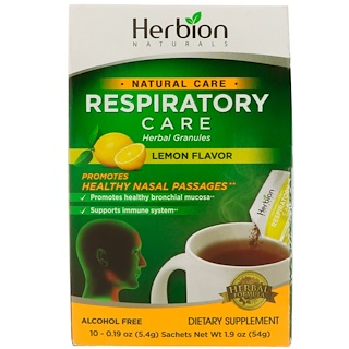 Herbion, Natural Care, Respiratory Care, Herbal Granules, Lemon Flavor, 10 Sachets, 0.19 oz (5.4 g) Each