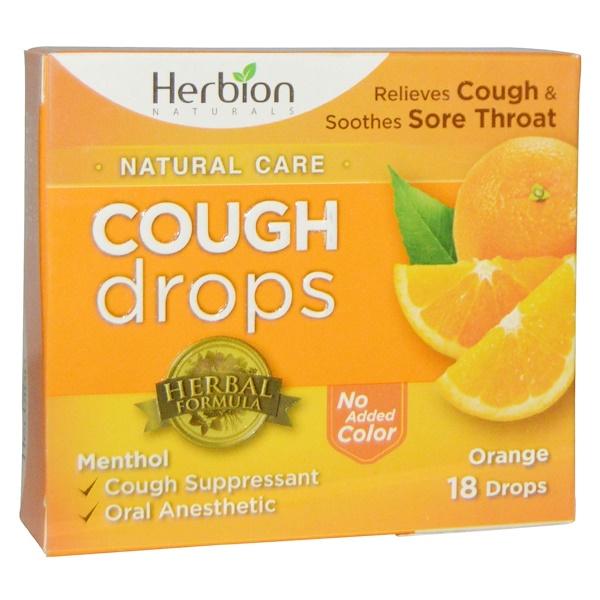 Herbion, ナチュラルズ、コフ ドロップ(咳止め飴)、オレンジ、18個 (Discontinued Item)