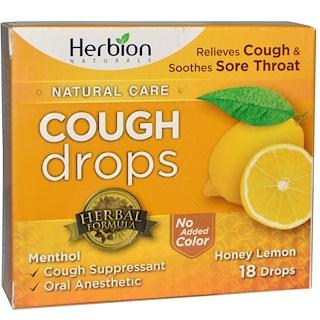 Herbion, Natural Care, Cough Drops, Honey Lemon, 18 Drops
