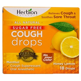 Herbion, Cough Drops, Sugar Free, Honey Lemon, 18 Drops