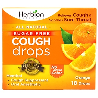 Herbion, Cough Drops, Sugar Free, Orange, 18 Drops