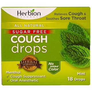 Herbion, Cough Drops, Sugar Free, Mint, 18 Drops