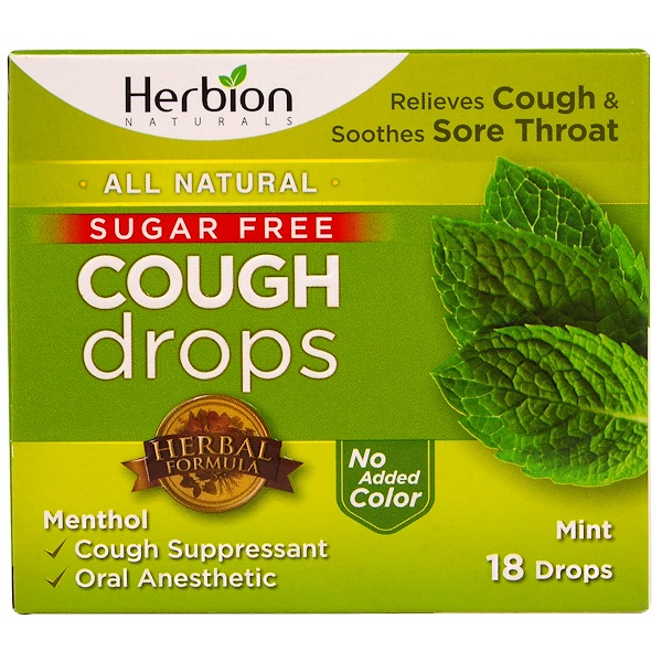 Herbion, Cough Drops, Sugar Free, Mint, 18 Drops (Discontinued Item)