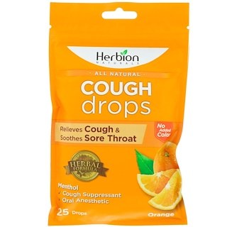 Herbion, All Natural, Cough Drops, Orange, 25 Drops