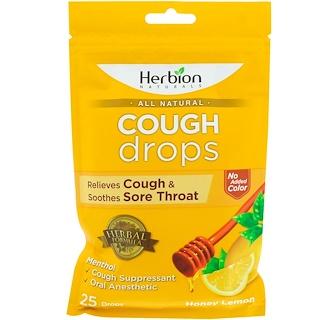 Herbion, All Natural, Cough Drops, Honey Lemon, 25 Drops