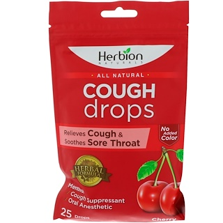 Herbion, Натуральное средство, леденцы от кашля, вишня, 25 леденцов