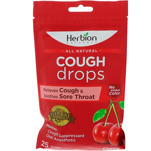Herbion, All Natural, Cough Drops, Cherry, 25 Drops (Discontinued Item)