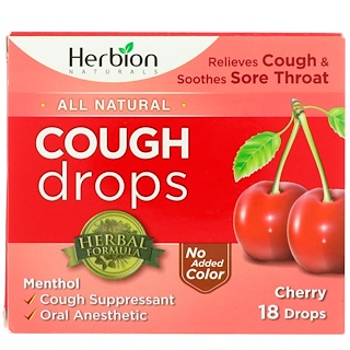 Herbion, All Natural, Cough Drops, Cherry, 18 Drops