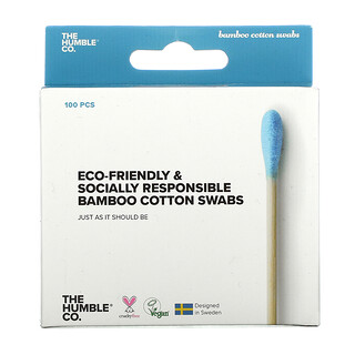 The Humble Co., Bamboo Cotton Swabs, Blue, 100 Swabs