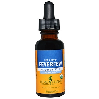 Herb Pharm, Feverfew, Leaf & Flower, Nervous System, 1 fl oz (30 ml)